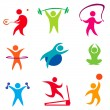 Fitness, indoor sport icons — Stock Vector
