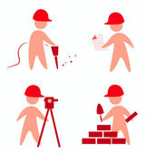Builders icons — Stock Vector