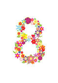 Number eight made of flowers — Stock Vector