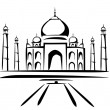 Stock Vector: Taj mahal symbol in black lines