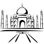 Taj mahal symbol in black lines — Stock Vector #9554137