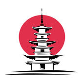 Pagode, japan symbool — Stockvector