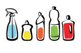 Set of bottles with washing agents — Stockvector