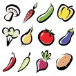 Set of vegetables icons — Stock Vector #9794905