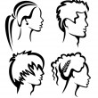 Set of protraits with haircuts — Stock Vector