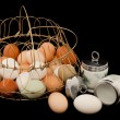 Eggs with Coddlers and Basket — Stock Photo #9676312