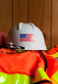Hard Hat and Safety Vest — Stock Photo