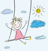 Girtle girl swinging on a swing high in the clouds — Stock Vector