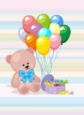 Teddy Bear with colorful balloons and candy — Stock Vector