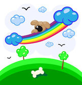 Cute puppy asleep on a rainbow in the clouds — Stock Vector