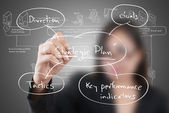Business lady write strategic planning on the whiteboard. — Stock Photo