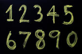 Number handwritten with chalk on a blackboard. — Stock Photo