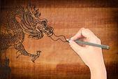 Ruční kreslení čínský drak socha. — Stock fotografie