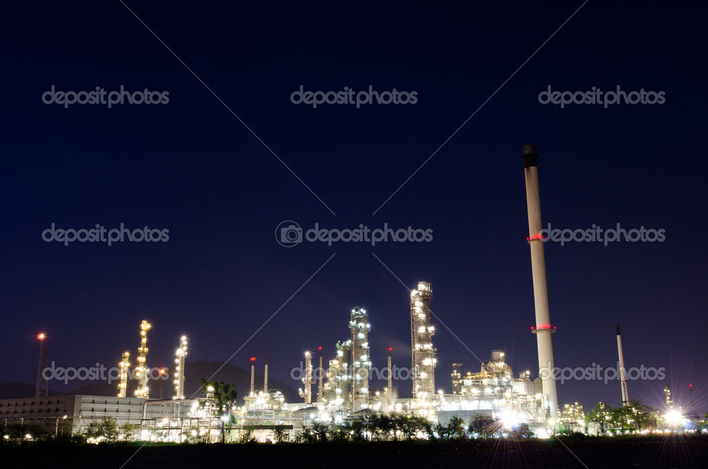 Image of petrochemical industry on sunset with colorful sky. — Stock Photo #10183650