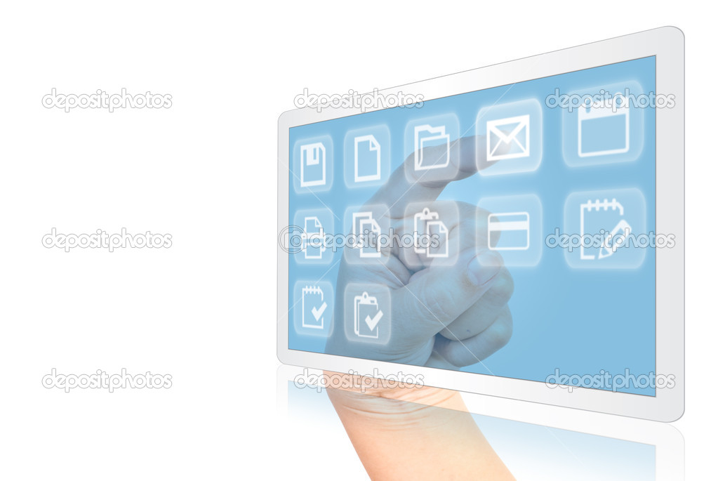 Image for technology concept with tablet screen.  Stock Photo #10212085