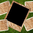 Stock Photo: Vintage photo frame on grass texture background.