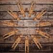 Vintage symbol on the wooden texture. — Stockfoto