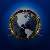 Circle panorama of Petrochemical industry on sunset dark blue sky. — Stock Photo