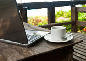 Coffee cup and laptop for business. — Stock Photo