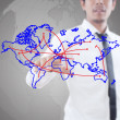 Businessman pushing Social Network world map. — Stock Photo #9692237