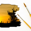 Artist Brush Painting Picture of Sunset. — Stock Photo