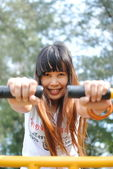 Asian woman exercise in the park. — Stock Photo
