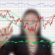 Business lady pushing finance graph for trade stock market on the whiteboard. — Stock Photo