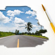Artist Brush Painting Picture of Blue Sky Field. — Stock Photo