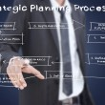 Businessman pushing business strategic planning on the whiteboard. — Stock Photo