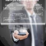Businessman pushing mobile with strategic planning. — Stock Photo