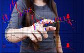 Business lady pushing finance graph. — Stock Photo