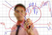 Businessman write finance graph. — Stock Photo