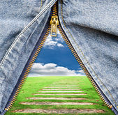 Closeup of zipper with blue sky field in blue denim. — Stock Photo