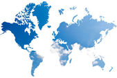 World map background from blue sky field. — Foto de Stock