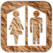 Toilet symbol vintage from vintage paper. - Stock Photo