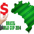 Hand putting $ for Gambling in World Cup 2014. — Stock Photo