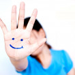 Smile on woman hand. — Stock Photo #9775144