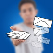 Businessman pushing mail for social network. — Stock Photo #9783825