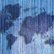 Denim world map with denim texture background. — Stock Photo