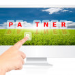 Hand pushing Partner word on monitor screen. — Stock Photo