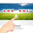 Hand pushing Control word on monitor screen. - Foto de Stock  