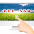 Hand pushing Freedom word on monitor screen. — Stock Photo