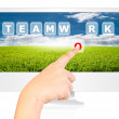 Hand pushing Teamwork word on monitor screen. — Stock Photo