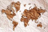 在老式的纸上雕刻的世界地图. — 图库照片