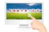 Hand pushing Contract word on monitor screen. — Stock Photo