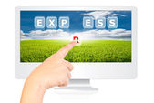 Hand pushing Express word on monitor screen. — Stock Photo
