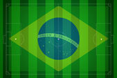 Soccer field with Brazil flag. — Stock Photo