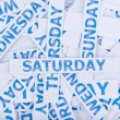 Stock Photo: Saturday word texture background.