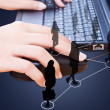 Hand pushing laptop keyboard with Social Network. — Stock Photo