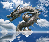Chinese style Dragon statue on the blue sky field. — Stock Photo